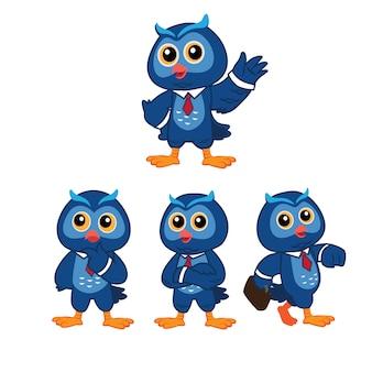 Mascote de coruja azul com roupa casual de negócios em pose diferente