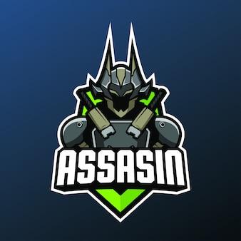 Mascote de cyborg assassino para esportes e esports logotipo isolado em fundo escuro