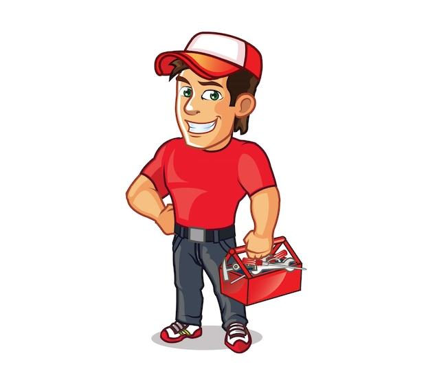 Mascote de desenho animado bonito handyman
