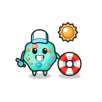 Mascote de desenho animado da ameba como guarda de praia, design de estilo fofo para camiseta, adesivo, elemento de logotipo