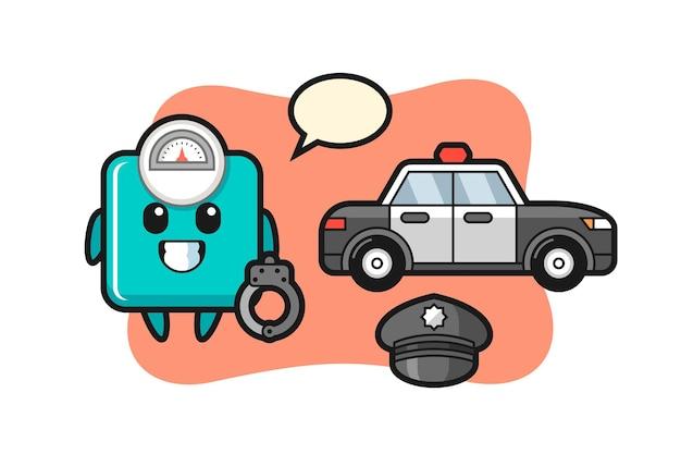 Mascote de desenho animado da escala de peso como policial, design de estilo fofo para camiseta, adesivo, elemento de logotipo