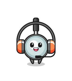 Mascote de desenho animado da lupa como serviço ao cliente, design de estilo fofo para camiseta, adesivo, elemento de logotipo