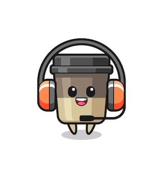 Mascote de desenho animado da xícara de café como serviço ao cliente, design de estilo fofo para camiseta, adesivo, elemento de logotipo
