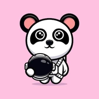 Mascote de desenho animado de astronauta panda fofo