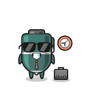Mascote de desenho animado de caneta esferográfica como empresário, design fofo
