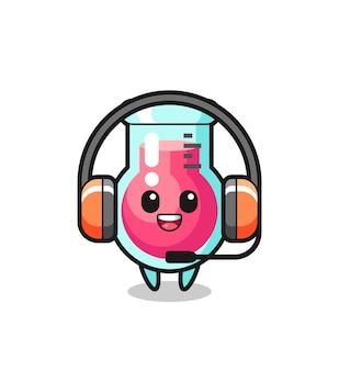 Mascote de desenho animado de copo de laboratório como serviço ao cliente, design de estilo fofo para camiseta, adesivo, elemento de logotipo