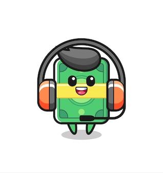 Mascote de desenho animado de dinheiro como serviço ao cliente, design de estilo fofo para camiseta, adesivo, elemento de logotipo
