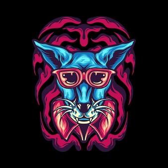 Mascote de desenho animado de gato funky