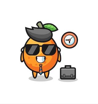 Mascote de desenho animado de kumquat como empresário, design de estilo fofo para camiseta, adesivo, elemento de logotipo