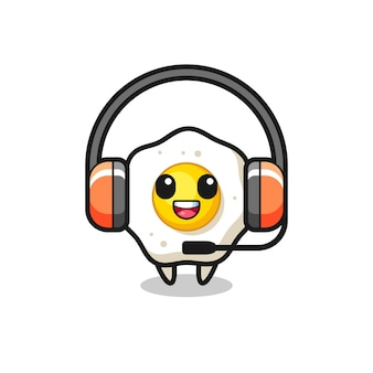 Mascote de desenho animado de ovo frito como serviço ao cliente, design de estilo fofo para camiseta, adesivo, elemento de logotipo