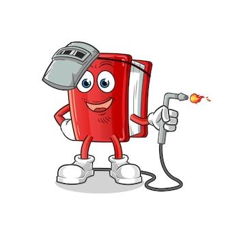Mascote de desenho animado de soldador de livro vermelho