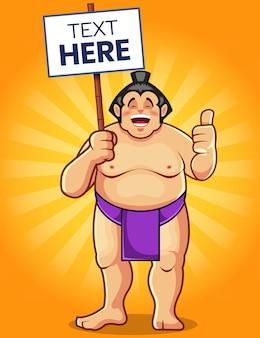 Mascote de desenho animado de sumô segurando uma placa de texto
