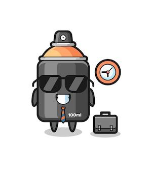 Mascote de desenho animado de tinta spray como empresário, design de estilo fofo para camiseta, adesivo, elemento de logotipo