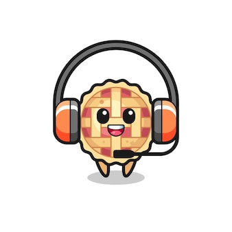 Mascote de desenho animado de torta de maçã como serviço ao cliente, design de estilo fofo para camiseta, adesivo, elemento de logotipo