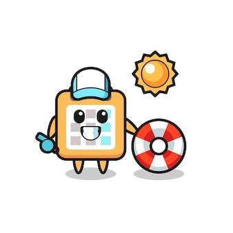 Mascote de desenho animado do calendário como guarda de praia, design de estilo fofo para camiseta, adesivo, elemento de logotipo