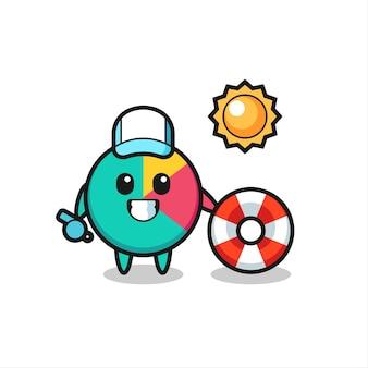 Mascote de desenho animado do gráfico como guarda de praia, design de estilo fofo para camiseta, adesivo, elemento de logotipo