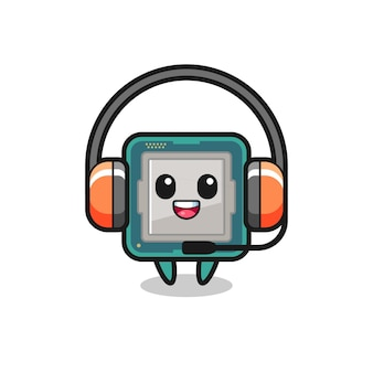 Mascote de desenho animado do processador como serviço ao cliente, design de estilo fofo para camiseta, adesivo, elemento de logotipo
