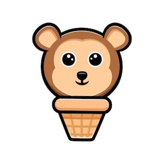 Mascote de desenho de sorvete com cabeça de macaco fofo