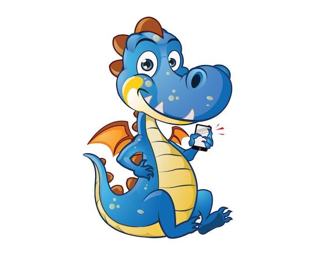 Mascote de desenhos animados de criança de dragão fofo