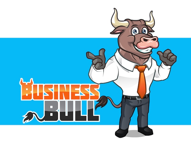 Mascote de desenhos animados de touro de negócios