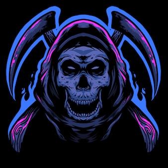 Mascote de design de logotipo de ceifeira de crânio