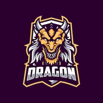 Mascote de dragão em fundo escuro