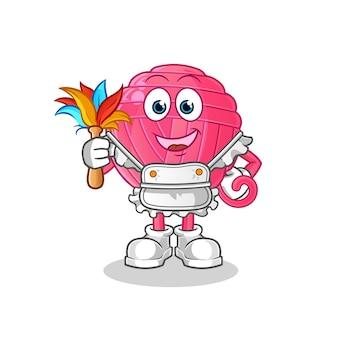 Mascote de empregada doméstica de bola de fios. desenho animado