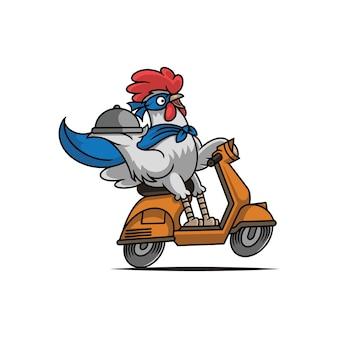 Mascote de entrega de frango herói