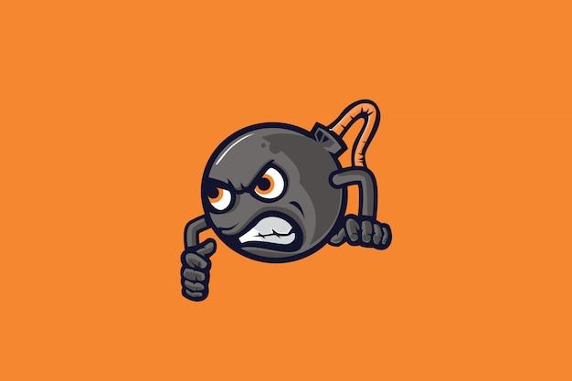 Mascote de esporte de bomb mad