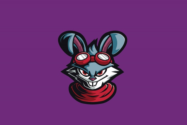 Mascote de esporte louco coelho