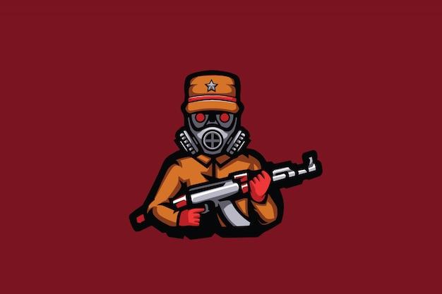 Mascote de esporte masked soldier