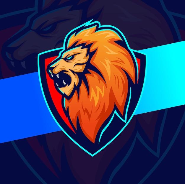 Mascote de exercícios musculares de fitness lion e personagem de design de logotipo para esporte e conceito de logotipo de jogo