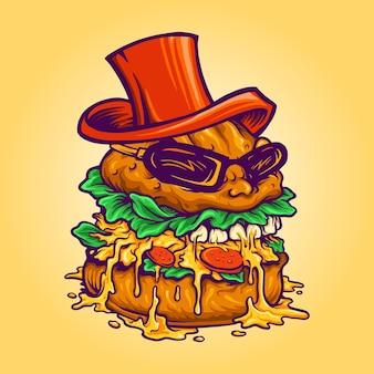 Mascote de fast food logo badass burger