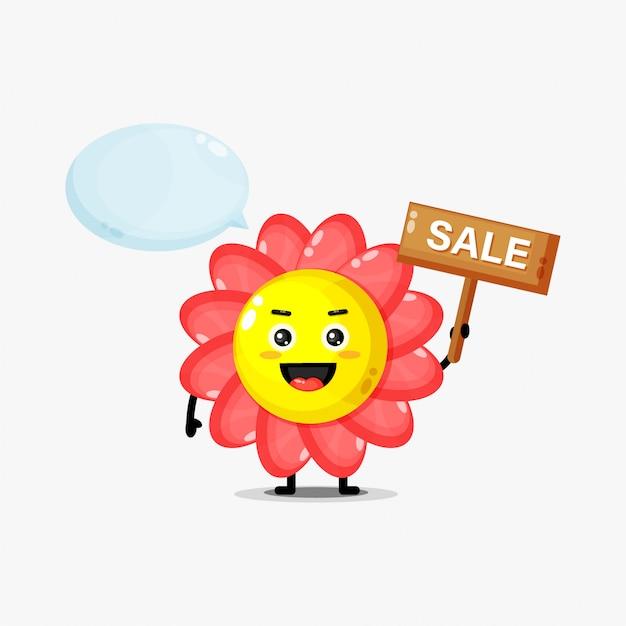 Mascote de flor fofa com placa de venda