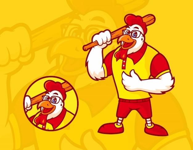 Mascote de frango com um taco de beisebol, usando óculos e uma expressão feliz