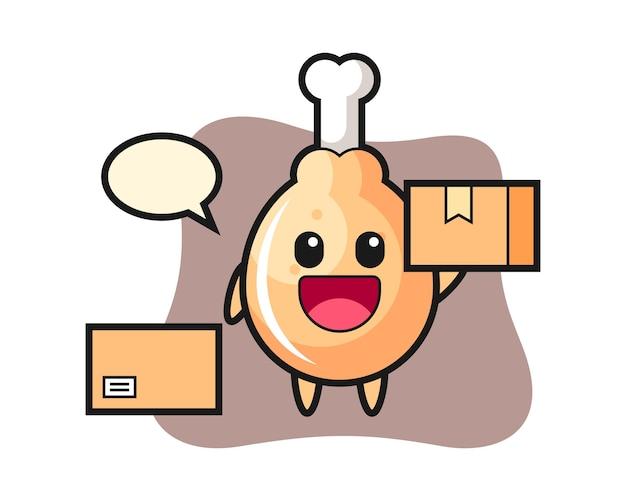 Mascote de frango frito como mensageiro