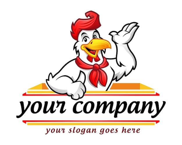 Mascote de frango ou personagem de frango, adequado para negócios de restaurantes