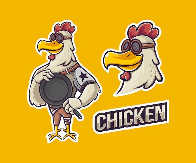 Mascote de frango steampunk