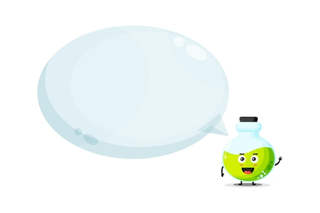Mascote de frasco de poção fofo com discurso de bolha