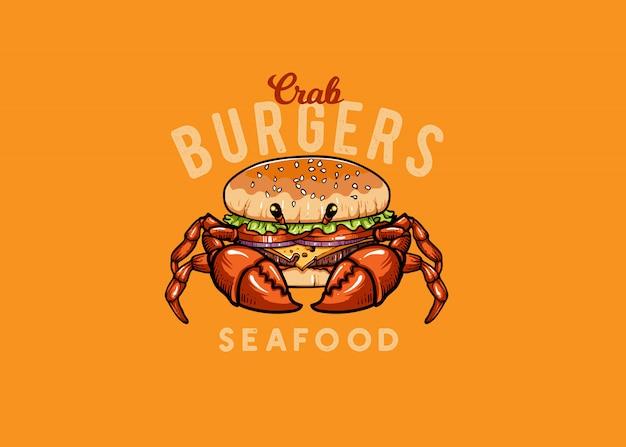 Mascote de frutos do mar de caranguejo e hambúrguer
