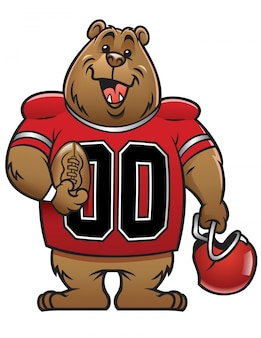Mascote de futebol dos desenhos animados de urso