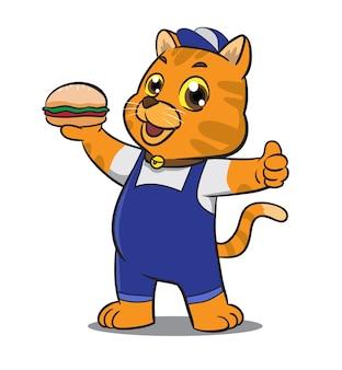 Mascote de gato bonito dos desenhos animados segurando o sanduíche