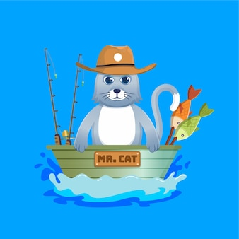 Mascote de gato de desenho animado pescando em um pequeno barco