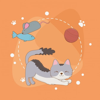 Mascote de gato pequeno bonito com rolo de lã e peixe