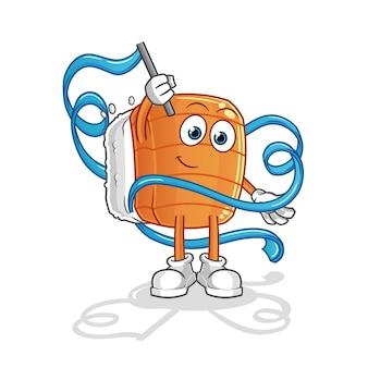 Mascote de ginástica rítmica de sushi. desenho animado