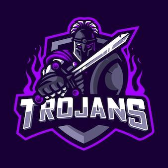 Mascote de guerreiro trojan