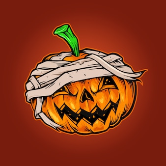Mascote de halloween com abóboras horror