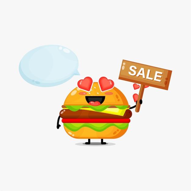 Mascote de hambúrguer fofinho com placa de venda