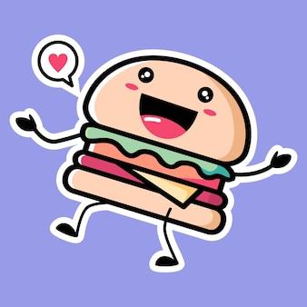 Mascote de hambúrguer fofo isolado em roxo