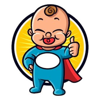 Mascote de herói de bebê dos desenhos animados